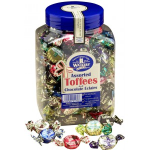 Assorted Toffees & Chocolate Eclairs, jar - 7 x 1.25kg