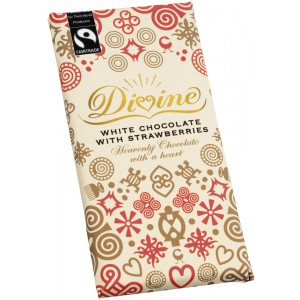 White Chocolate Bar with Strawberries, Fairtrade - 15 x 100g