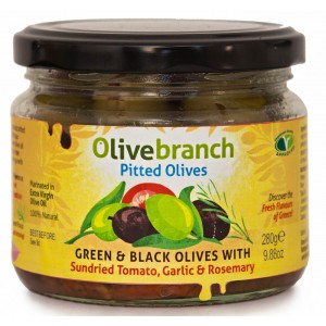 Green & Black Pitted Olives with Tomato & Rosemary - 6 x 240g