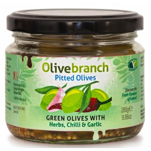 Green Pitted Olives with Herbs, Chilli & Garlic - 6 x 240g