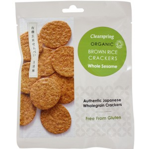 Organic Japanese Brown Rice Crackers  Whole Sesame - 12 x 40g